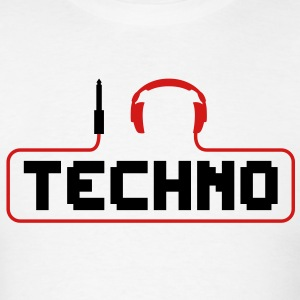 I Love Techno headphones music minimal gabber club bass beat hardcore T-Shirts - Men's T-Shirt