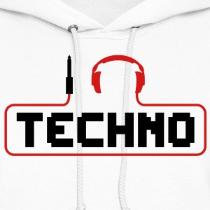 I Love Techno headphones music minimal gabber club bass beat hardcore Hoodies - Women's Hoodie