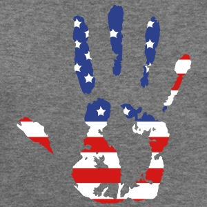 handprint with American flag Long Sleeve Shirts - Women's Wideneck Sweatshirt