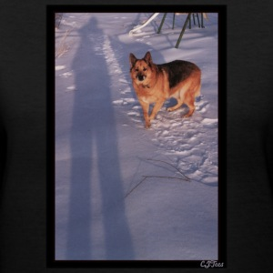 Lady's V - Snow Shadows - Owner and Dog - Women's V-Neck T-Shirt