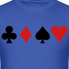all four poker spade diamond club and heart suits in a row T-Shirts
