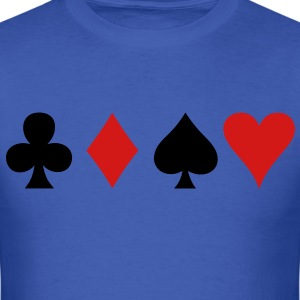 all four poker spade diamond club and heart suits in a row T-Shirts - Men's T-Shirt