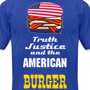 USA Burger - Truth Justice and The American Burger - Men's T-Shirt by American Apparel