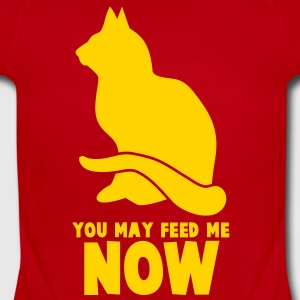 RUDE CAT saying  YOU MAY FEED ME NOW! Baby Bodysuits - Short Sleeve Baby Bodysuit