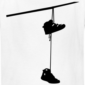 shoefiti shoes hanging bootlace shoelace lace streetart line cable Kids' Shirts - Kids' T-Shirt