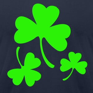3 Neon Green Shamrocks T-Shirts - Men's T-Shirt by American Apparel