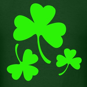 3 Neon Green Shamrocks T-Shirts - Men's T-Shirt