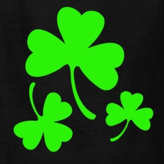 3 Neon Green Shamrocks Kids' Shirts