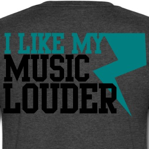 I LIKE MY MUSIC LOUDER! with lightning bolt! T-Shirts - Men's V-Neck T-Shirt by Canvas