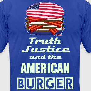 GLOWing text - Truth Justice and The American Burger  - Men's T-Shirt by American Apparel