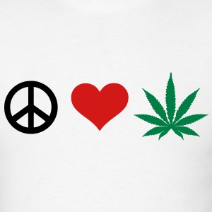 Peace Love Marijuana T-Shirts - Men's T-Shirt