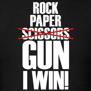 Rock Paper No Scissors Gun I Win T-Shirts - Men's T-Shirt