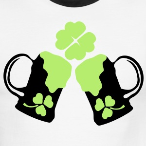 Cheers green beer & shamrock Men's Ringer T-Shirt by American Apparel - Men's Ringer T-Shirt
