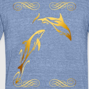 Two Gold Dophins framed - Unisex Tri-Blend T-Shirt by American Apparel