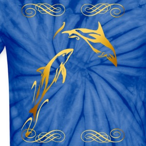 Two Gold Dophins framed - Unisex Tie Dye T-Shirt