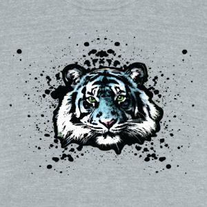 Tiger - Blue Graffiti Graphic T-Shirts - Unisex Tri-Blend T-Shirt by American Apparel