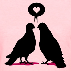 Love saying Doves - Two Valentine Birds 2c Women's T-Shirts