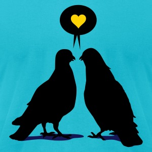 Love saying Doves - Two Valentine Birds 3c T-Shirts - Men's T-Shirt by American Apparel
