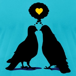 Love thinking  Doves - Two Valentine Birds 3c T-Shirts - Men's T-Shirt by American Apparel