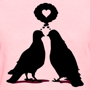 Love thinking  Doves - Two Valentine Birds 2c Women's T-Shirts - Women's T-Shirt