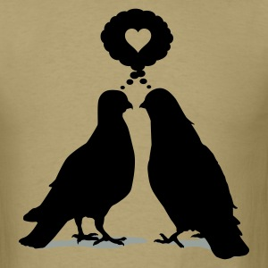 Love thinking  Doves - Two Valentine Birds 2c T-Shirts - Men's T-Shirt