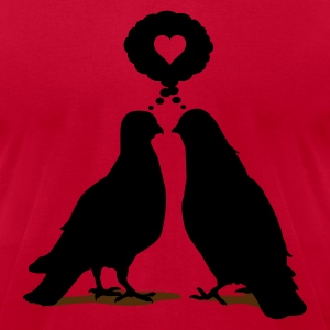 Love thinking  Doves - Two Valentine Birds 2c T-Shirts - Men's T-Shirt by American Apparel