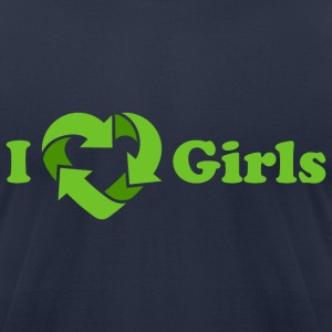 I love Girls - Recycle Heart (dd print) T-Shirts - Men's T-Shirt by American Apparel