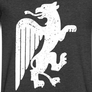 White Griffin T-Shirts - Men's V-Neck T-Shirt by Canvas