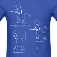 Design ~ T-Rex Trying Ukulele White Design (Basic Tee)