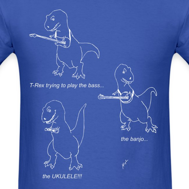 T-Rex Trying Ukulele White Design (Basic Tee)