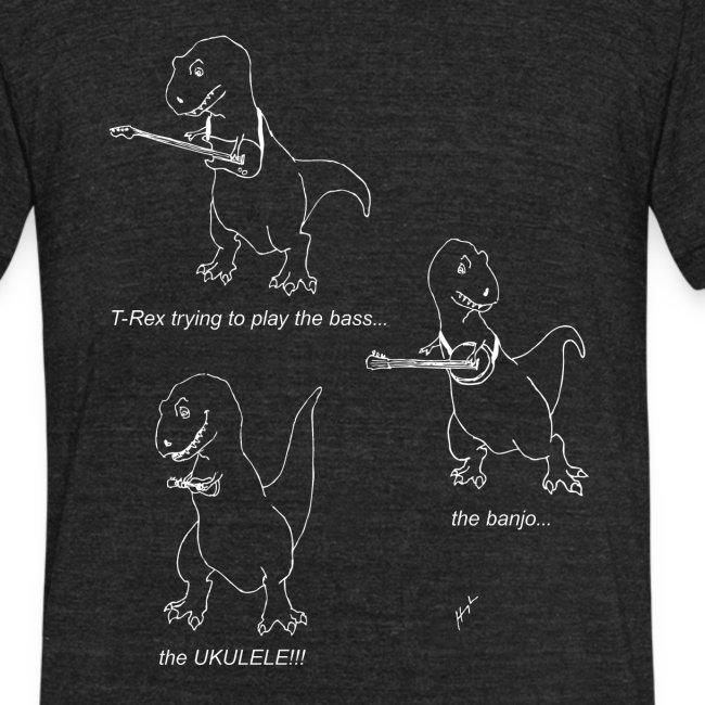T-Rex Trying Ukulele White Design (Am Apparel)