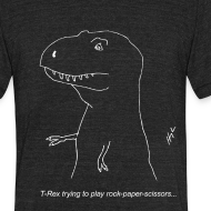Design ~ T-Rex Rock Paper Scissors White (Am Apparel)
