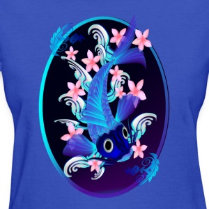 Blue Koi-Rosy Flowers Oval - Women's T-Shirt