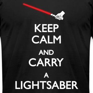 Keep Calm and Carry a Lightsaber - Red - Men's T-Shirt by American Apparel