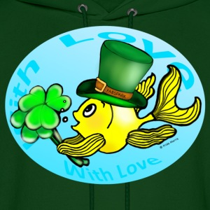 Happy St Patrick's Day with Love Fish, Goldfish in Circle - Men's Hoodie