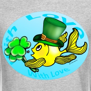 Happy St Patrick's Day with Love Fish, Goldfish in Circle - Crewneck Sweatshirt