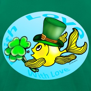 Happy St Patrick's Day with Love Fish, Goldfish in Circle - Men's T-Shirt by American Apparel