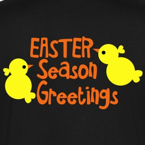 EASTER SEASON GREETINGS with little peep chickens  T-Shirts - Men's V-Neck T-Shirt by Canvas