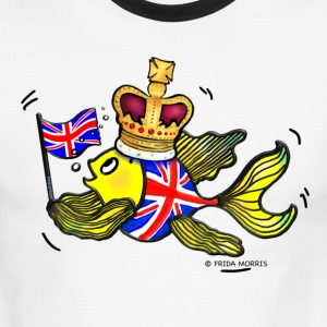 British fish holding UK Flag wearing a Crown - Men's Ringer T-Shirt