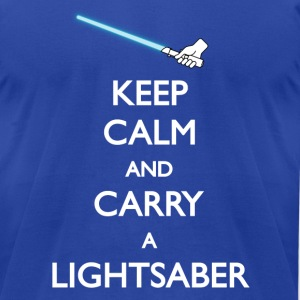 Keep Calm Blue Lightsaber - Men's T-Shirt by American Apparel