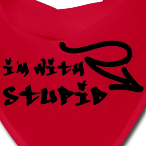 I'm With Stupid Graffiti Style Graphic Text Font Design with Cool Arrow - Black color - Funny Joke Hilarious Humor Tshirt Cool on Hoodies Unique Writing Caps - Bandana