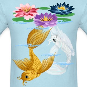 Gold and Silver Koi - colorful lilies - Men's T-Shirt