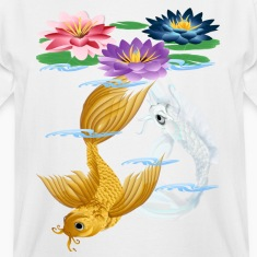Gold and Silver Koi - colorful lilies