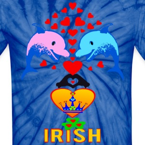 ★㋡♥ټI Love Irish-Cute Dolphin Couple-Unisex Tie Dye T-Shirtټ♥㋡ - Unisex Tie Dye T-Shirt