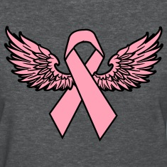 Winged Breast Cancer Awareness Ribbon Women's T-Shirts