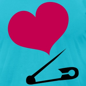 HEART family baby safety pin  T-Shirts - Men's T-Shirt by American Apparel