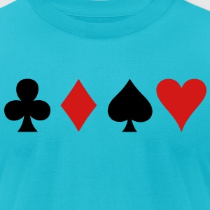 all four poker spade diamond club and heart suits in a row T-Shirts - Men's T-Shirt by American Apparel