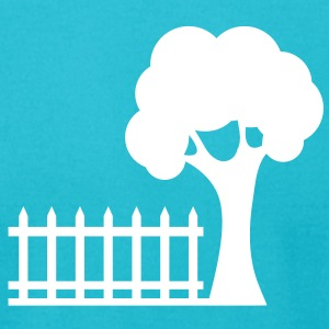 picket fence and a tree garden backyard fun! T-Shirts - Men's T-Shirt by American Apparel