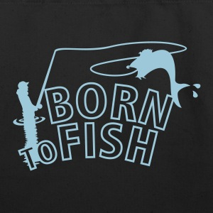 born to fish (fly fishing, 1c) Bags  - Eco-Friendly Cotton Tote