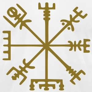 Gold Vegvísir (Viking Compass) - Men's T-Shirt by American Apparel